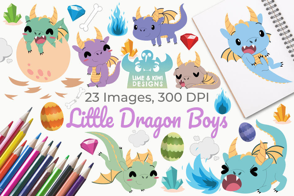 Little Dragon Boys Clipart, Instant Download Vector Art example image 1