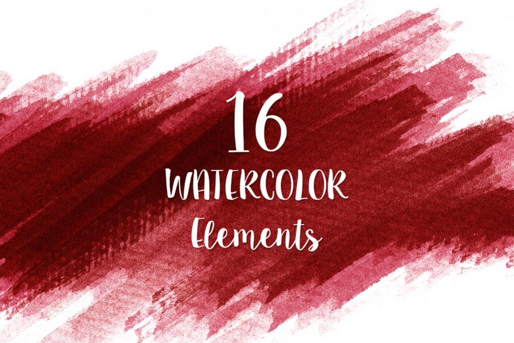 16 Red Watercolor Design Elements example image 1