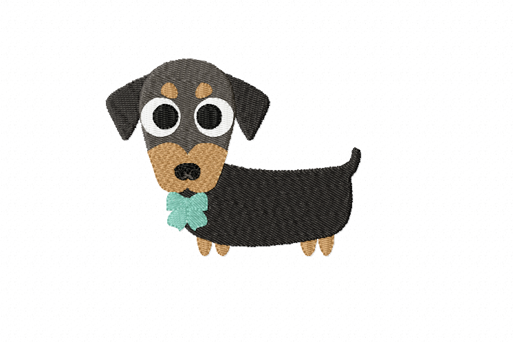 Dachshund Embroidery Designs in 2 sizes example image 1