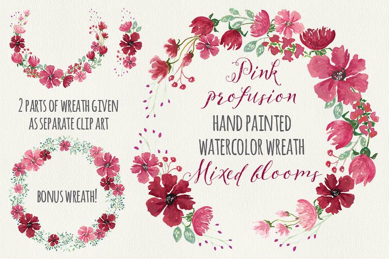 Watercolor floral wreath: Pink profusion example image 1