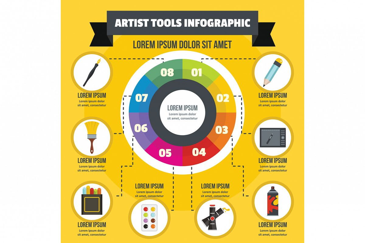Artist tool infographic concept, flat style example image 1