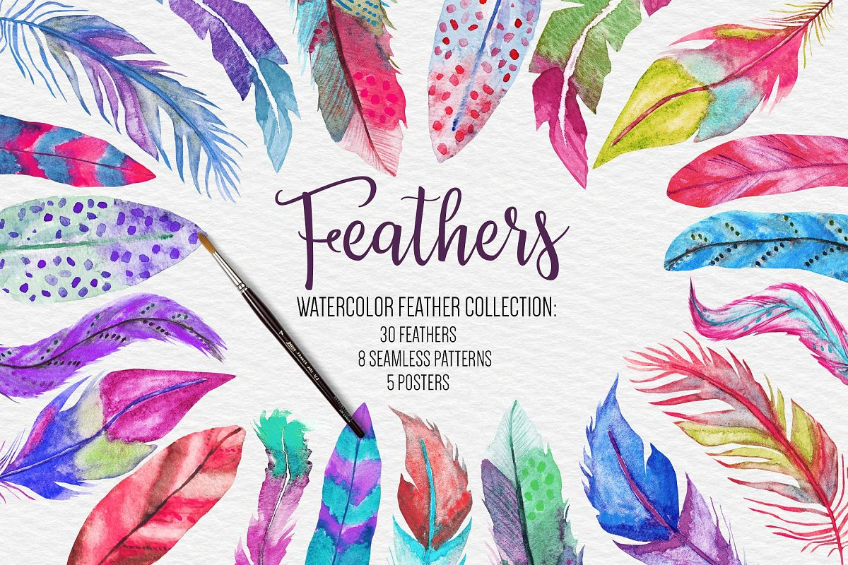 watercolor feathers clipart pattern poster collection