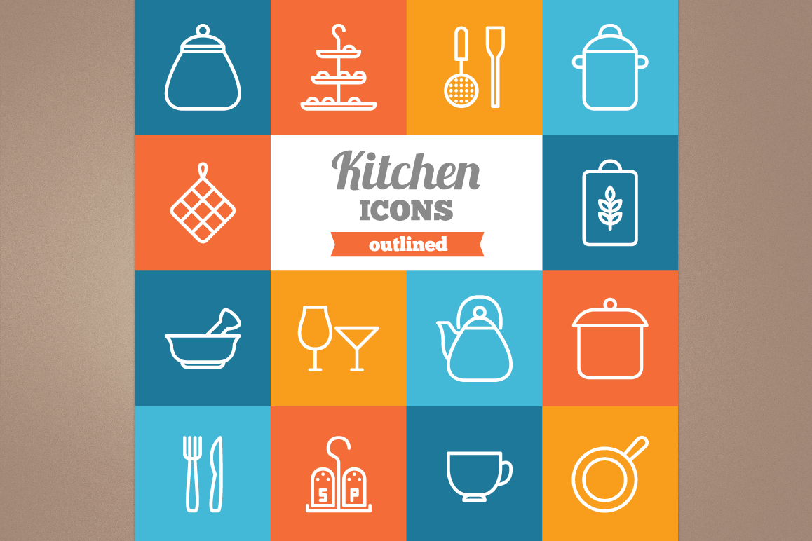 Outlined Kitchen Icons example image 1