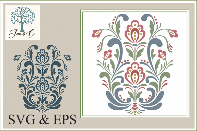 Scandinavian Folk Art Flowers, Rosemaling 1 example image 1