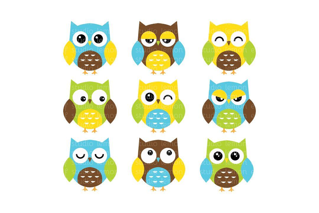 Expressive Owls-Digital Clipart (LES.CL02A) example image 1