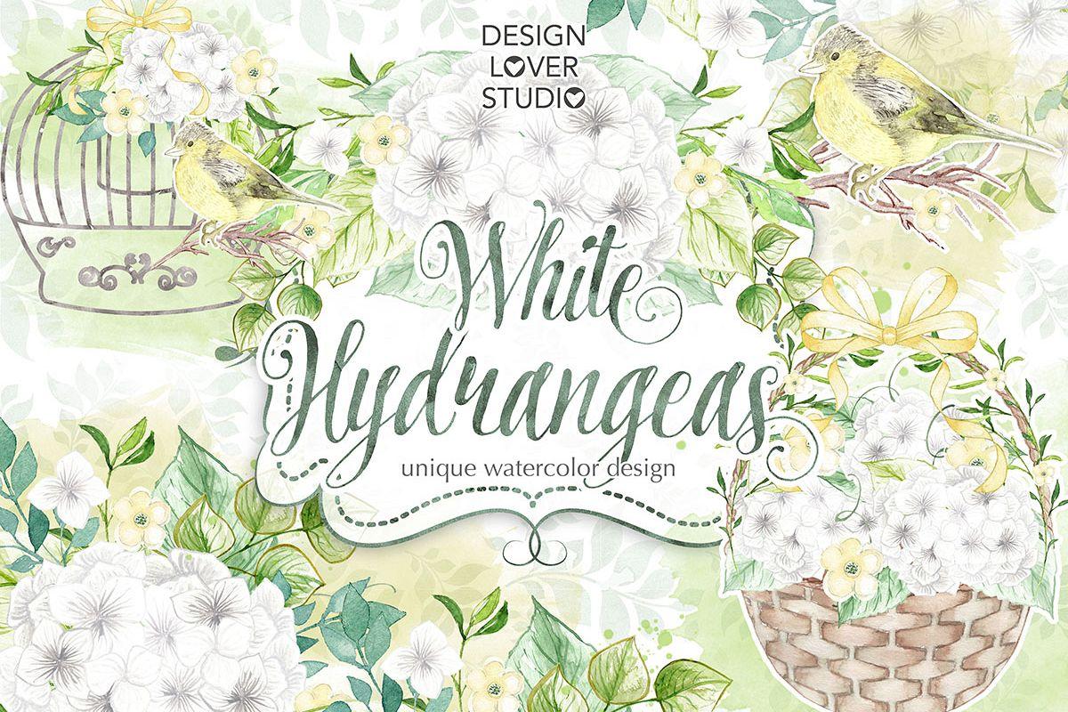 Watercolor White Hydrangeas design example image 1