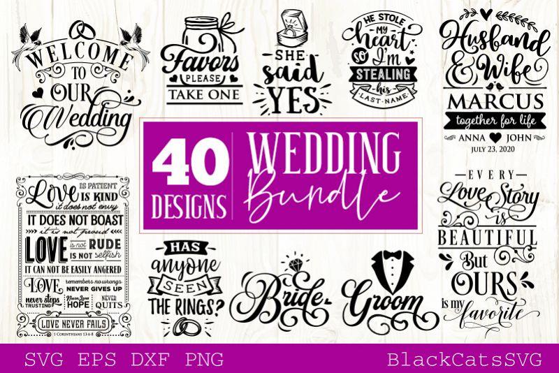 Wedding SVG bundle 40 designs vol 2 example image 1