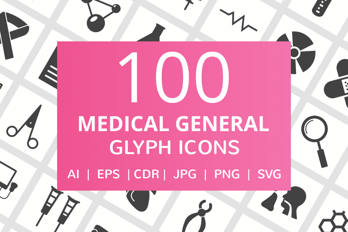 100 Medical General Glyph Icons example image 1