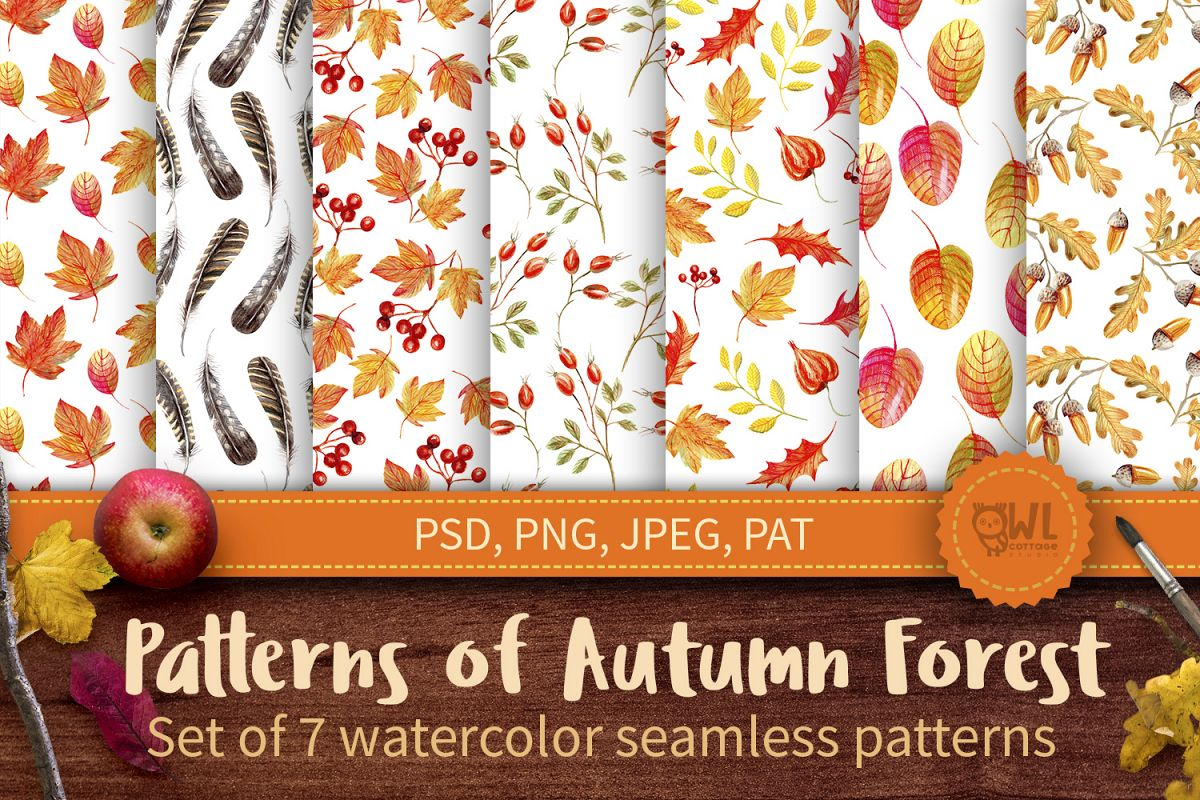 Autumn Watercolor Seamless Patterns Set example image 1