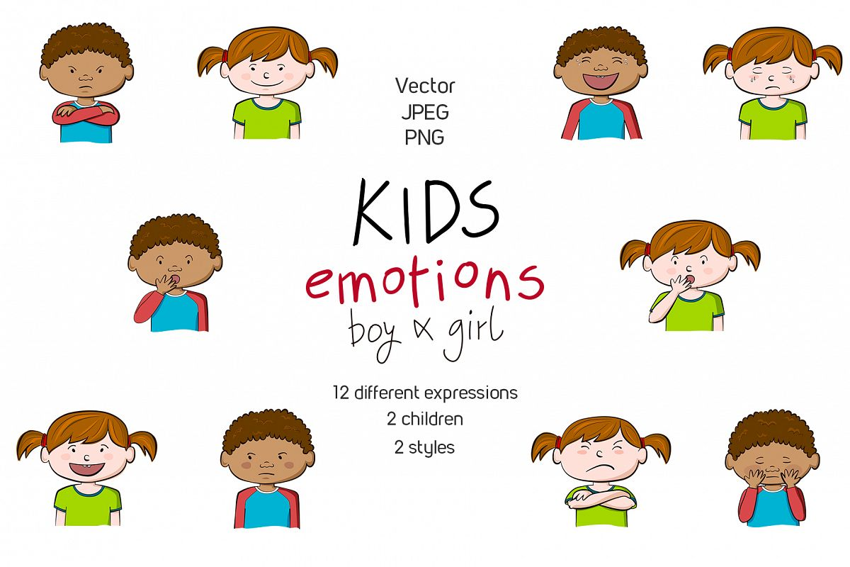 Kids emotions vector illustrations example image 1