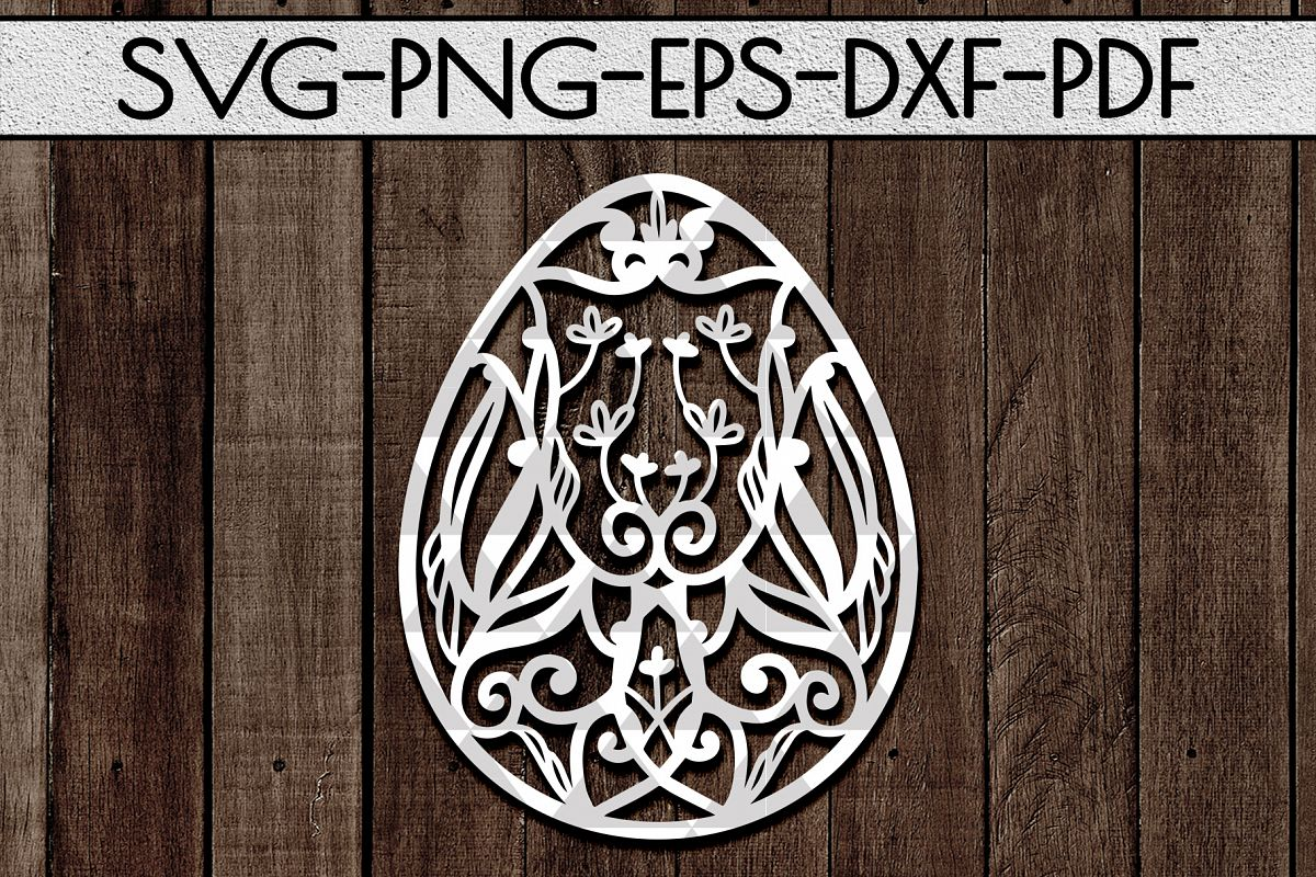 Dragon Egg Papercut Template, Easter Egg Hunter, PDF SVG DXF example image 1
