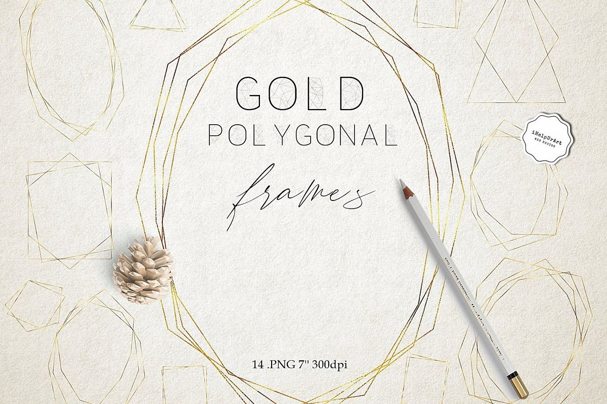 Gold Polygonal Geometric Frames Clipart example image 1