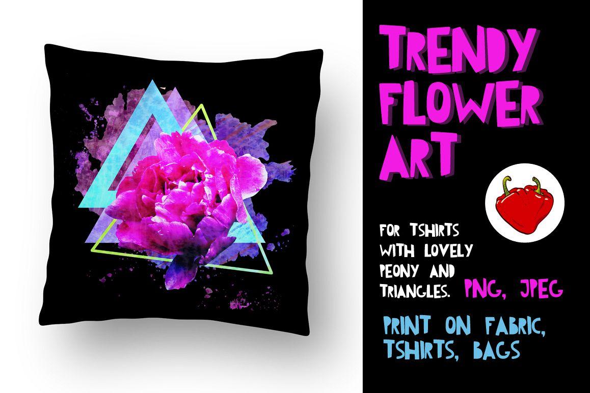 Trendy flower print. Adorable Peon. example image 1
