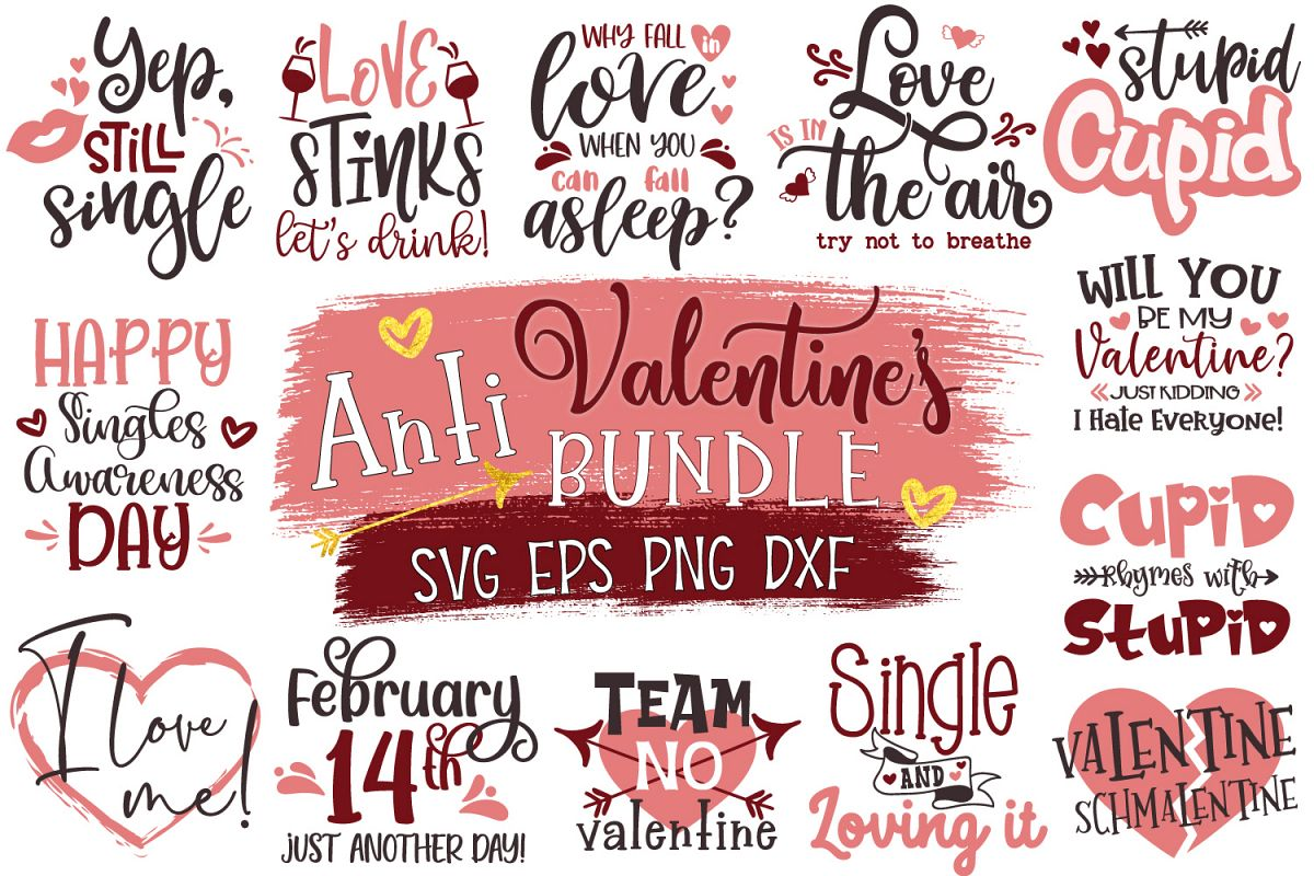 Anti-Valentine's Day Bundle, Funny And Snarky Valentine Day example image 1