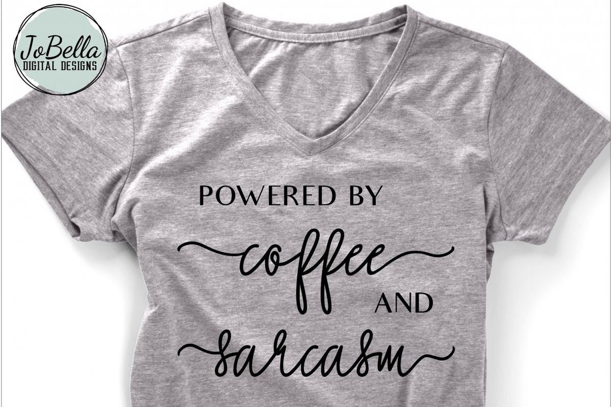 Powered by Coffee and Sarcasm SVG and Printable example image 1