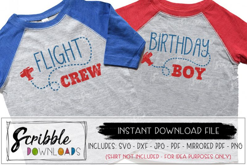 Birthday Boy Airplane Flight Crew SVG Mom Dad Bday Example Image 1