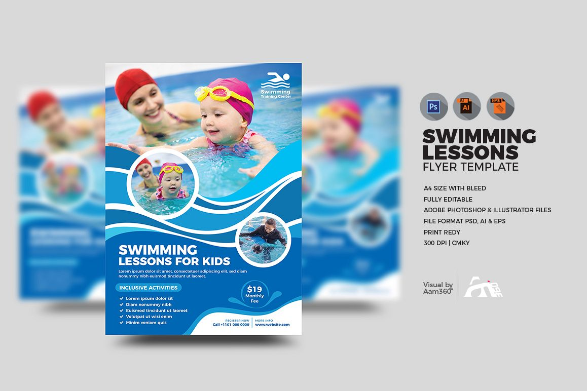 Kids Swimming Lessons Flyer example image 1