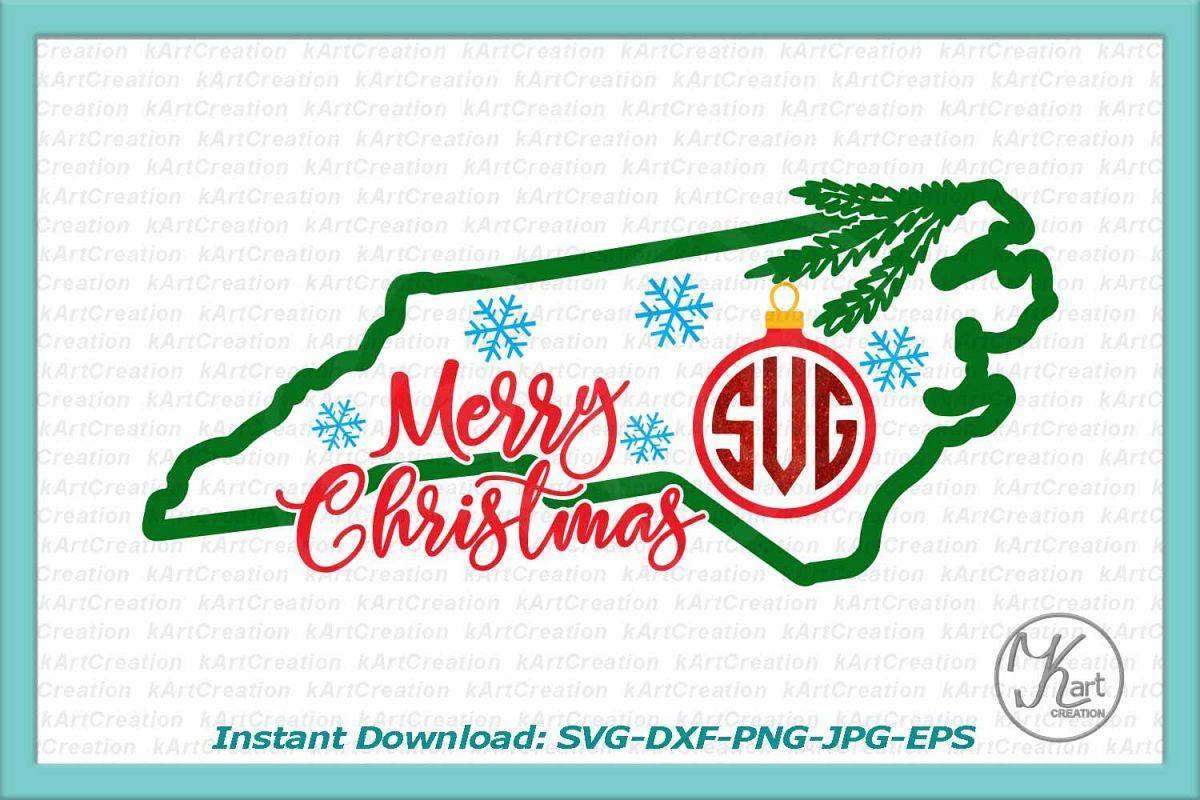 North Carolina Christmas monogram svg dxf files machine cut example image 1