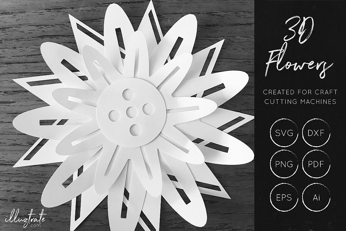 3D Flower SVG Cut Files - Flower SVG - Layered Flower DXF example image 1