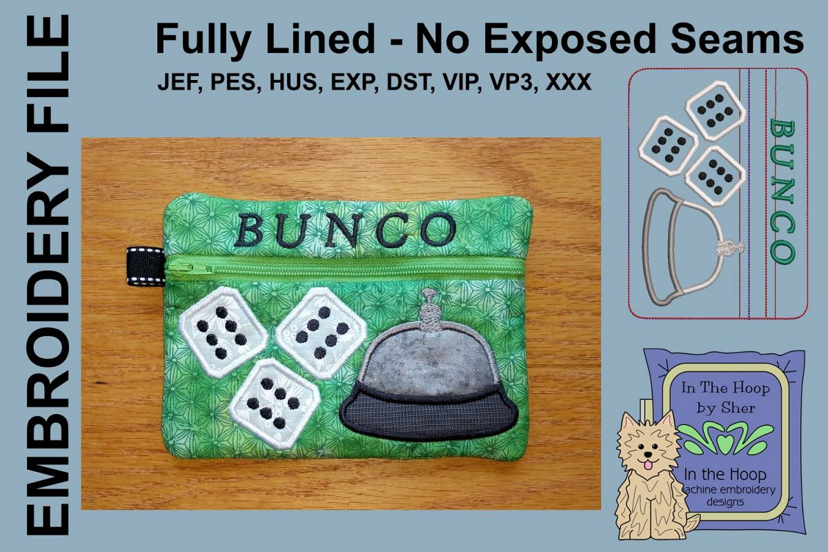 ITH Bunco Zipper Bag - Fully Lined, 5X7 HOOP example image 1