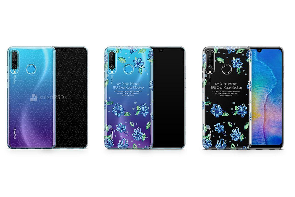 Huawei P30 Lite UV TPU Clear Case Mockup 2019 Flat example image 1