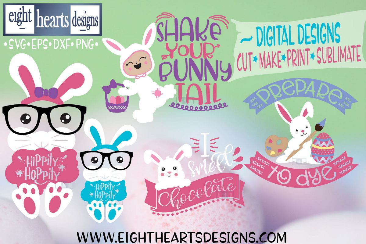 Mini Easter Bundle, 5 Designs SVG//PNG//DXF//EPS example image 1