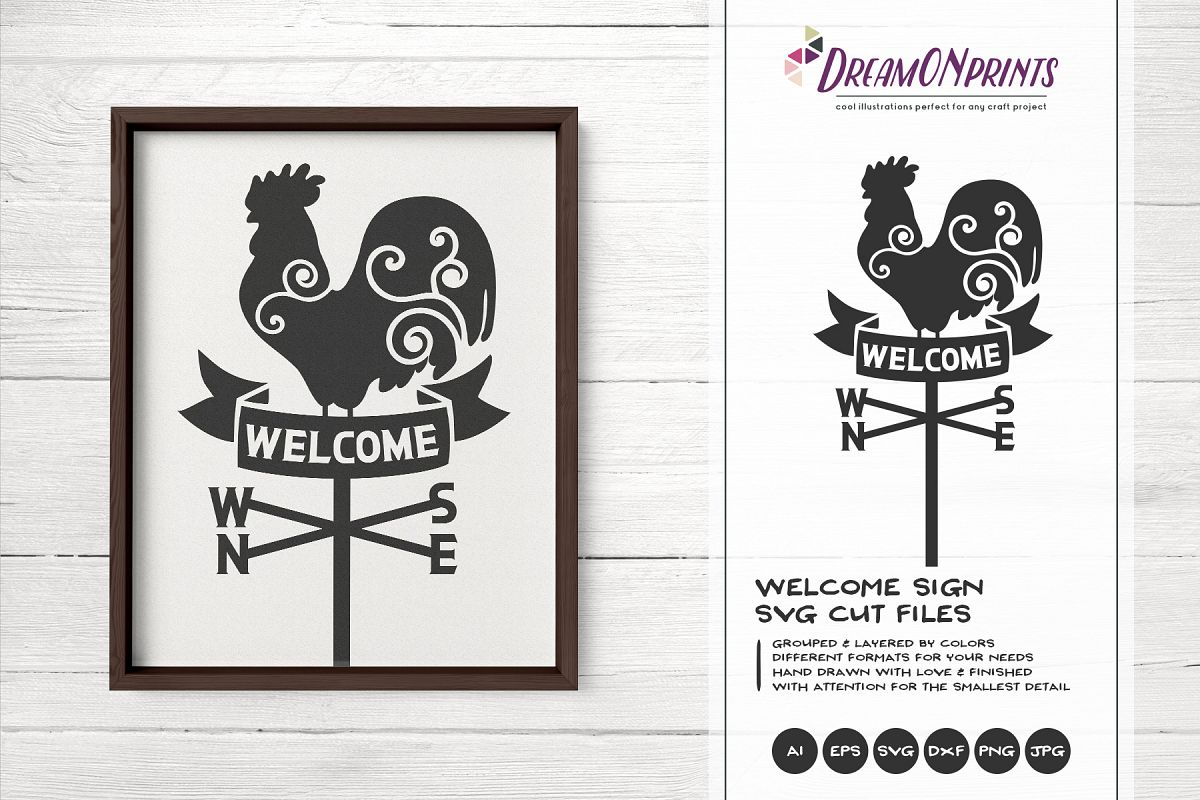 Rooster Wind Compass SVG - Welcome Sing SVG example image 1