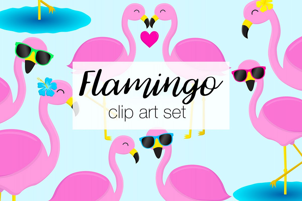 Flamingo Clipart Illustrations example image 1