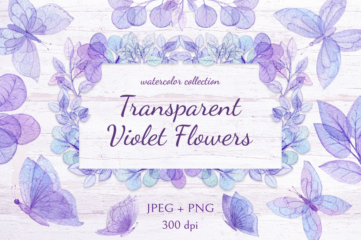 Transparent Violet Flowers example image 1