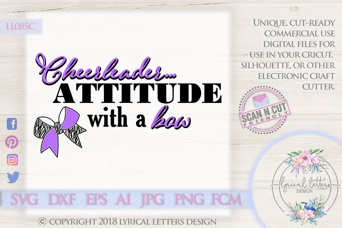 Attitude with a Bow Cheerleader SVG DXF Cut File LL085C example image 1