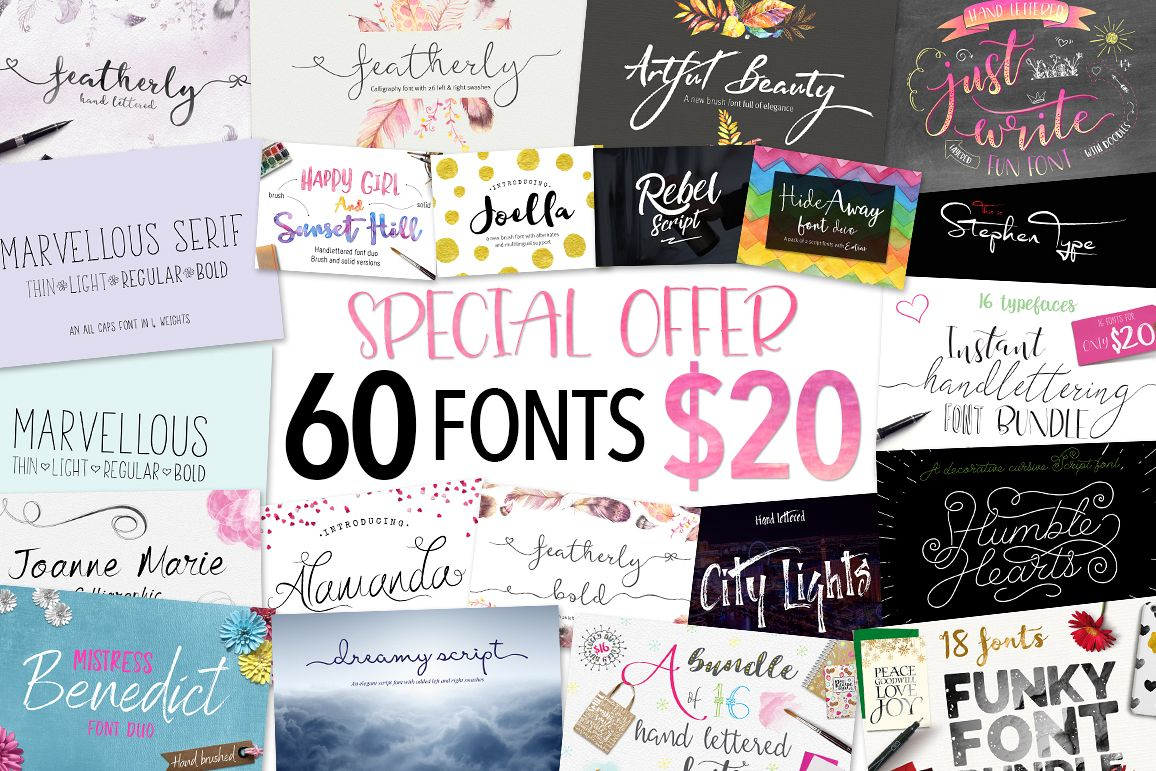 Joanne Marie 60 Font Bundle example image 1