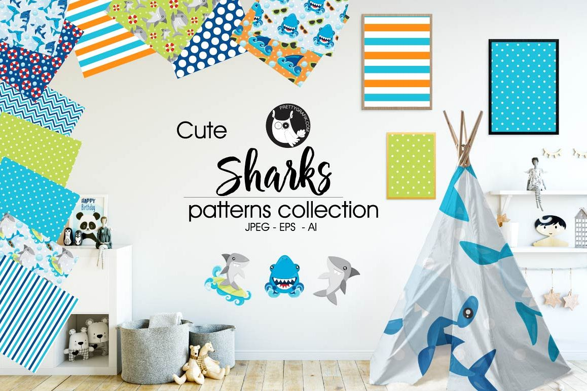 SHARKS, digital papers example image 1