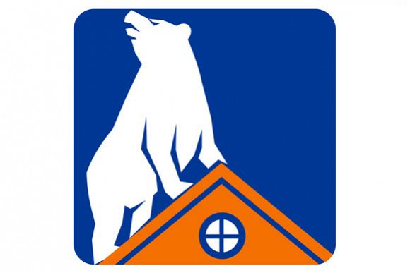 Bear On Roof Rectangle Retro example image 1
