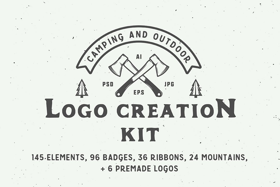 Camping Outdoor Logo Creation Kit example image 1