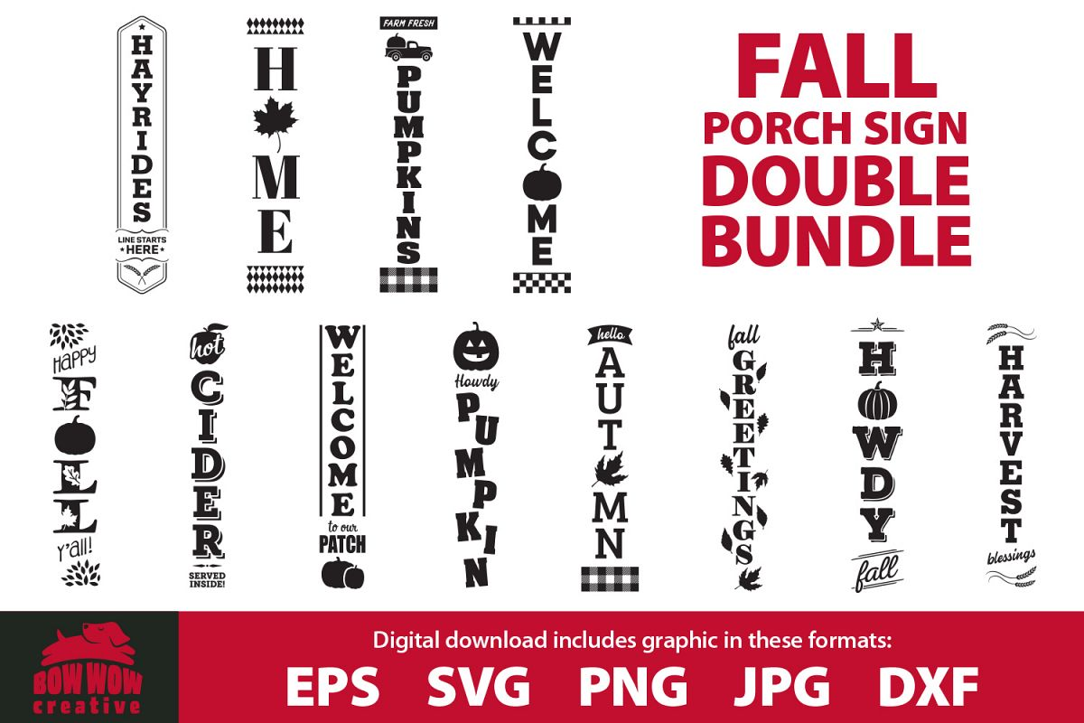 Fall / Autumn porch sign double bundle - SVG, EPS, JPG, PNG example image 1