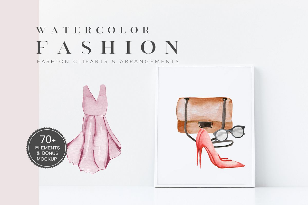 Fashion Watercolor Clipart, Bag, Shoes, Dress, Clothes example image 1