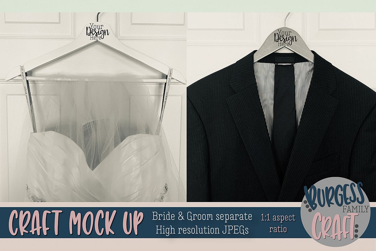 Bride & Groom hangers Craft mock up  High Resolution JPEG example image 1