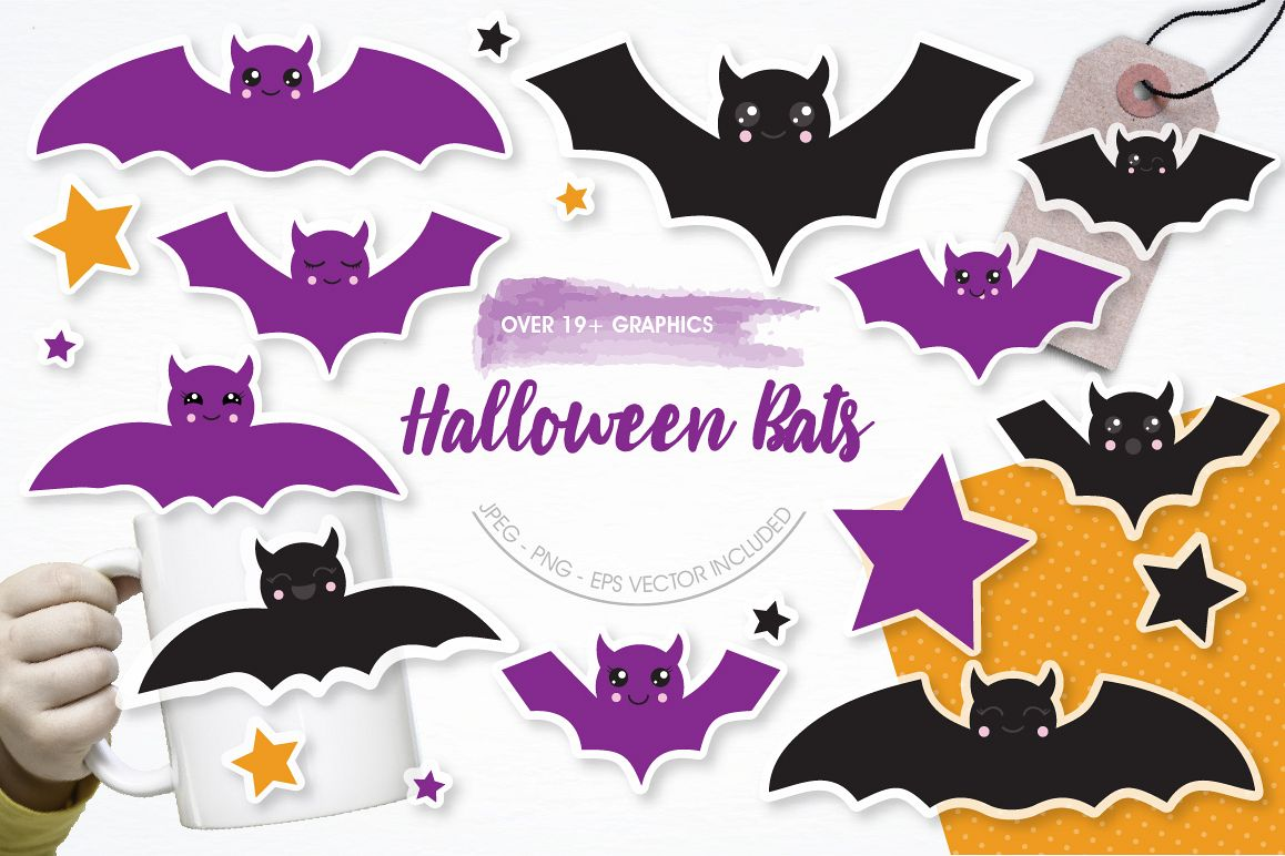 Halloween Bats graphics and illustrations example image 1