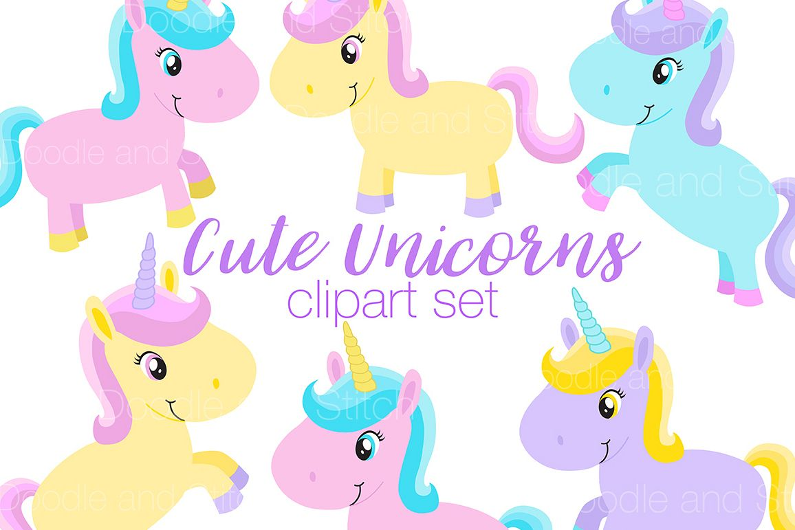 Cute Unicorn Clipart Illustrations example image 1
