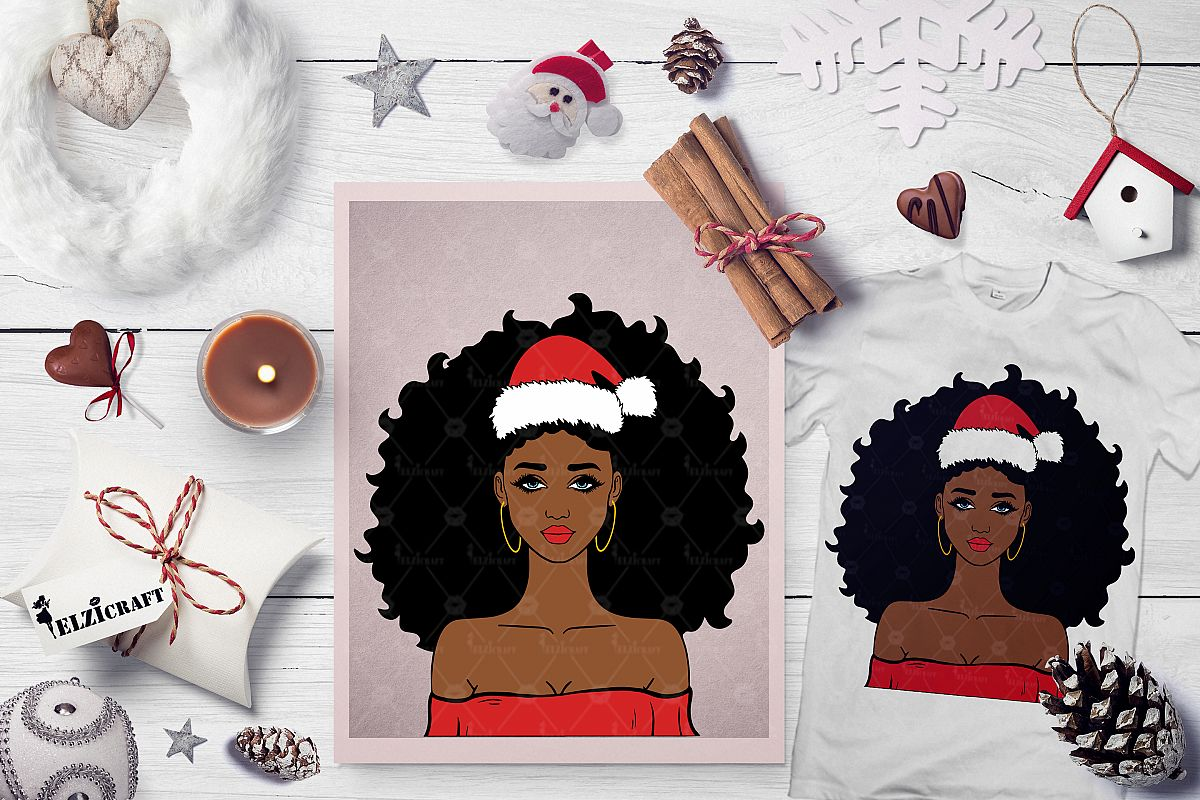 Christmas Afro Girl Santa Hat Melanin Poppin SVG Cut File example image 1