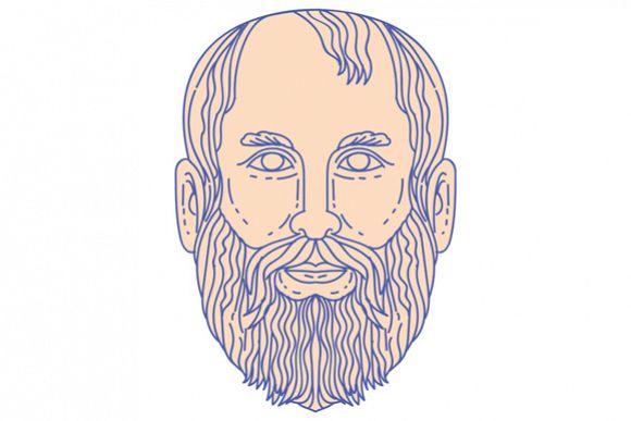 Plato Greek Philosopher Head Mono Line example image 1