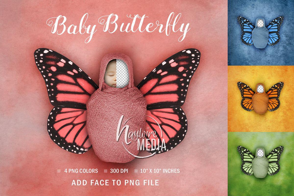 Newborn Baby Face Swap Digital Butterfly Portrait example image 1