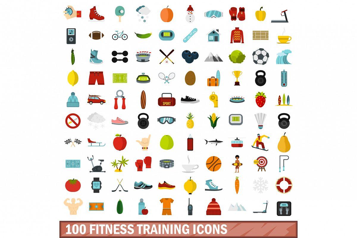 100 fitness training icons set, flat style example image 1