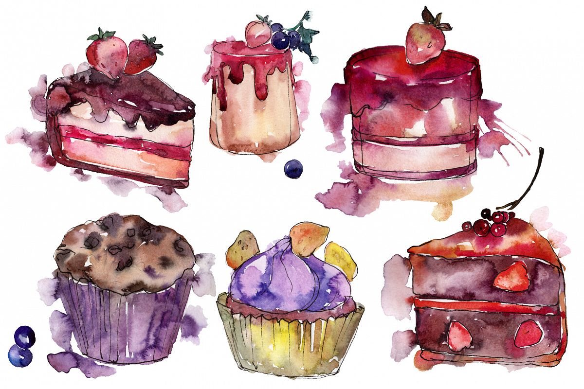 Dessert Love story Watercolor png example image 1