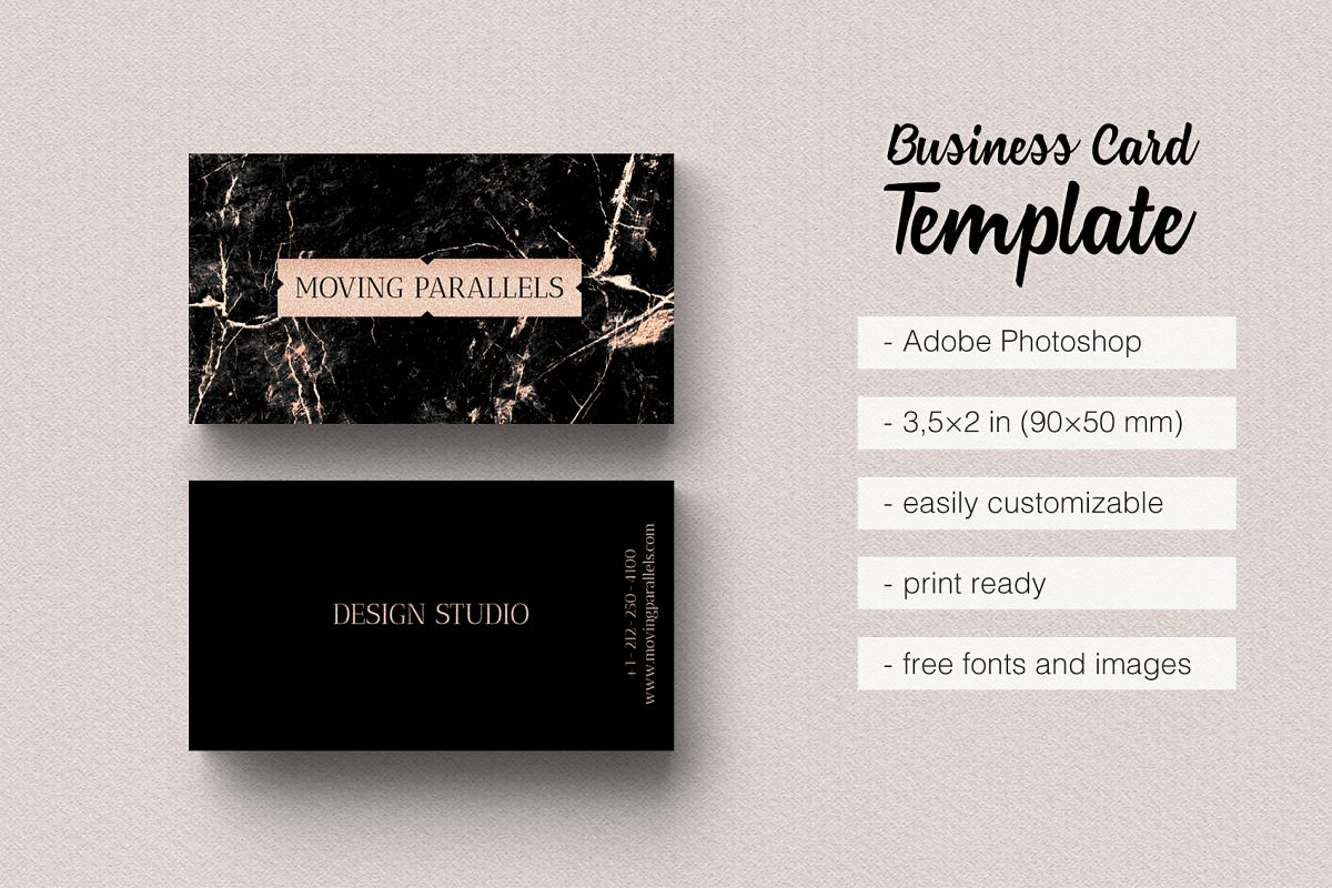 rose gold foil marble business card example image 1 - Rose Gold Business Cards