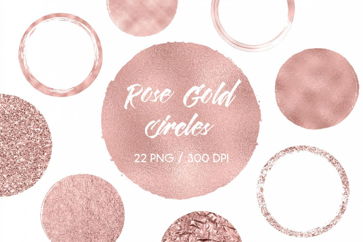 Rose Gold Circles Clip Art example image 1