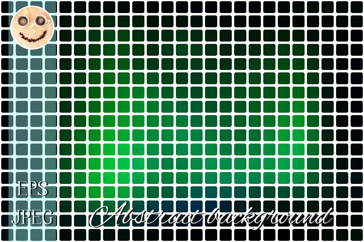 Glowing Neon Green Abstract Rounded Mosaic Background