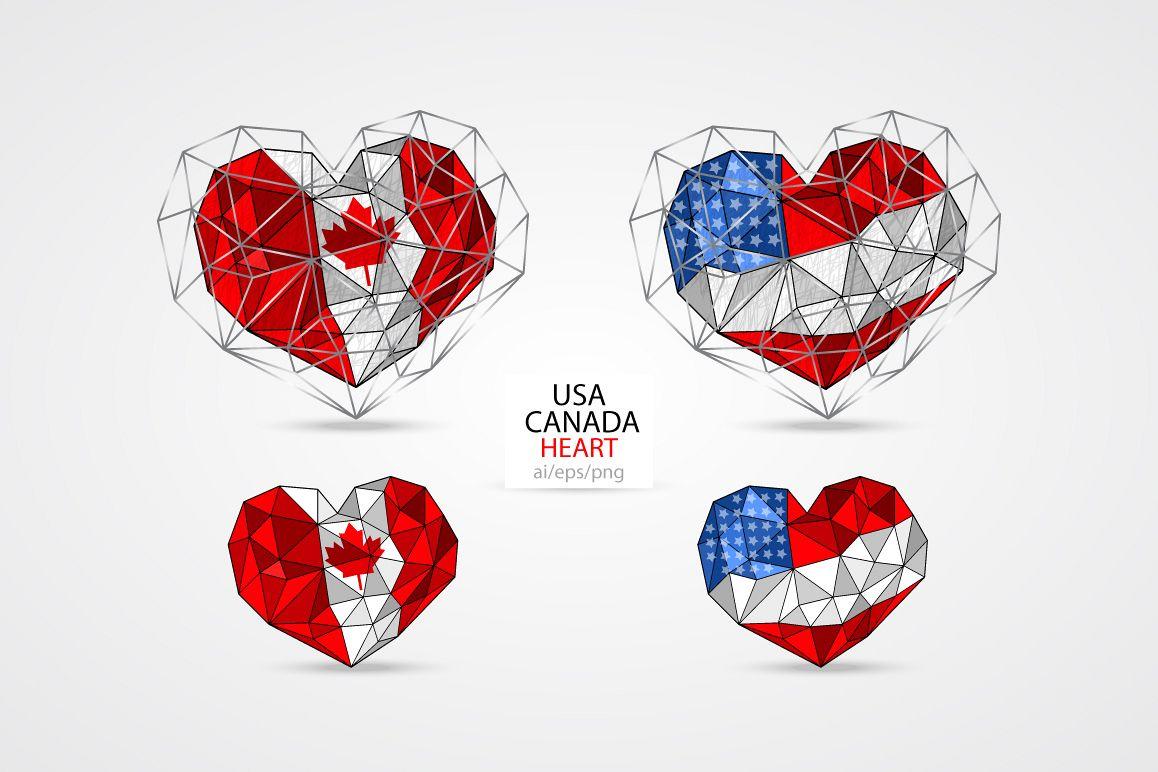 USA/American flag. CANADA. HEART. example image 1