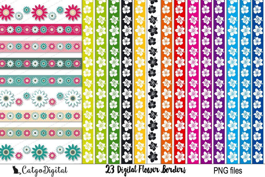 Digital Flower Borders Clip Art PNG files example image 1