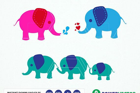 Elephant SVG Files. Elephant Family Vector Clipart Svg, Dxf, Eps, Png Files example image 1
